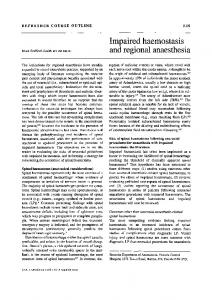 Impaired haemostasisd and regional anaesthesia