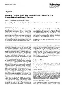 Implanted constant basal rate insulin infusion devices for type 1 (Insulin-dependent) diabetic patients