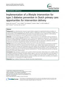 Implementation of a lifestyle intervention for type 2 diabetes prevention in Dutch primary care: opportunities for intervention delivery