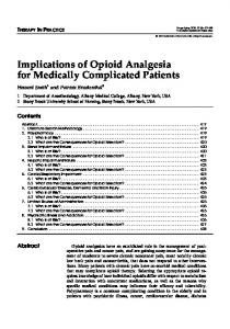 Implications of Opioid Analgesia for Medically Complicated Patients