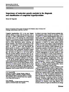 Importance of molecular genetic analysis in the diagnosis and classification of congenital hypothyroidism