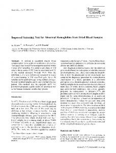 Improved screening test for abnormal hemoglobins from dried blood samples