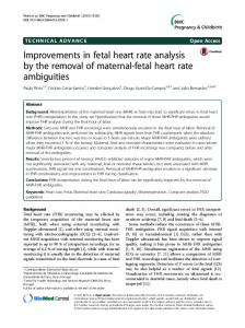 Improvements in fetal heart rate analysis by the removal of maternal-fetal heart rate ambiguities