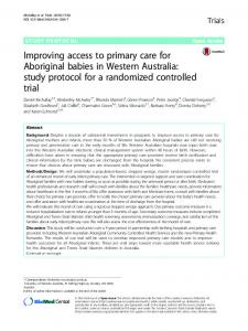 Improving access to primary care for Aboriginal babies in Western Australia: study protocol for a randomized controlled trial