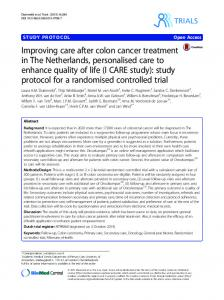 Improving care after colon cancer treatment in The Netherlands, personalised care to enhance quality of life (I CARE study): study protocol for a randomised controlled trial