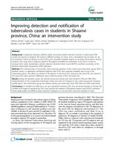 Improving detection and notification of tuberculosis cases in students in Shaanxi province, China: an intervention study