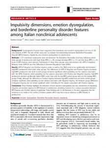 Impulsivity dimensions, emotion dysregulation, and borderline personality disorder features among Italian nonclinical adolescents