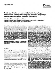 In-situ identification of major metabolites in the red alga Gracilariopsis lemaneiformis using high-resolution magic angle spinning nuclear magnetic resonance spectroscopy