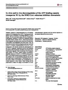 In vitro and in vivo downregulation of the ATP binding cassette transporter B1 by the HMG-CoA reductase inhibitor simvastatin