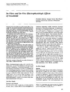 In-vitro and in-vivo electrophysiologic effects of encainide