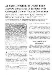 In vitro detection of occult bone marrow metastases in patients with colorectal cancer hepatic metastases