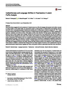 Inattentiveness and Language Abilities in Preschoolers: A Latent Profile Analysis