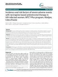Incidence and risk factors of severe adverse events with nevirapine-based antiretroviral therapy in HIV-infected women. MTCT-Plus program, Abidjan, Côte d'Ivoire