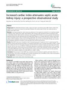 Increased cardiac index attenuates septic acute kidney injury: a prospective observational study