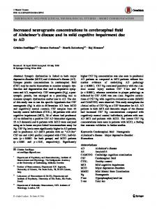 Increased neurogranin concentrations in cerebrospinal fluid of Alzheimer's disease and in mild cognitive impairment due to AD