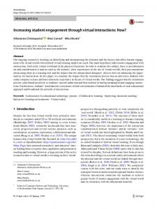 Increasing student engagement through virtual interactions: How?