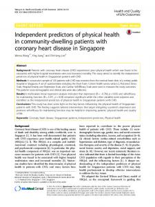 Independent predictors of physical health in community-dwelling patients with coronary heart disease in Singapore