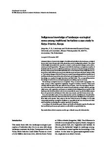 Indigenous knowledge of landscape–ecological zones among traditional herbalists: a case study in Keiyo District, Kenya