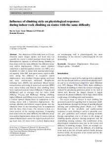 Influence of climbing style on physiological responses during indoor rock climbing on routes with the same difficulty