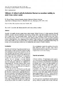 Influence of cultural and physiochemical factors on ascorbate stability in plant tissue culture media