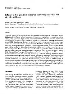 Influence of four grazers on periphyton communities associated with clay tiles and leaves