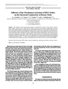 Influence of the mechanical activation of REE oxides on the electrical conductivity of borate melts
