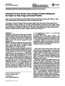 Influential Forces in Breast Cancer Surgical Decision Making and the Impact on Body Image and Sexual Function