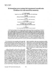 Information processing during general anesthesia: Evidence for unconscious memory