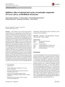 Inhibitory effect of safranal and crocin, two principle compounds of Crocus sativus, on fibrillation of lysozyme