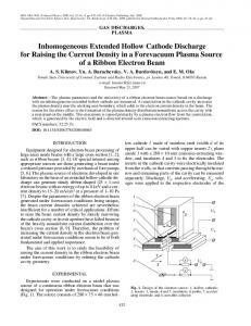 Inhomogeneous extended hollow cathode discharge for raising the current density in a forevacuum plasma source of a ribbon electron beam