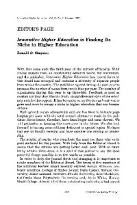 Innovative Higher Education is finding its niche in higher education