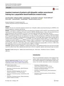 Inpatient treatment of patients with idiopathic sudden sensorineural hearing loss: a population-based healthcare research study