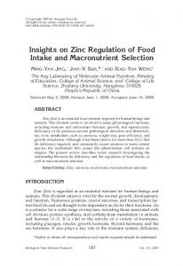 Insights on zinc regulation of food intake and macronutrient selection
