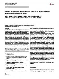 Insulin pump basal adjustment for exercise in type 1 diabetes: a randomised crossover study