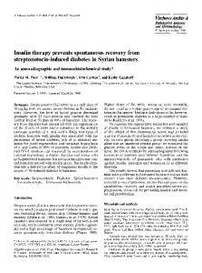 Insulin therapy prevents spontaneous recovery from streptozotocin-induced diabetes in Syrian hamsters