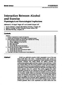 Interaction Between Alcohol and Exercise