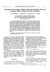 Interaction between primary aliphatic amines and carboxylic acid esters in aqueous micellar solutions of cationic surfactants