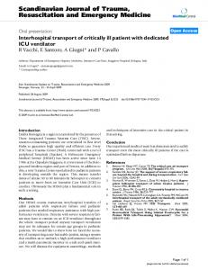 Interhospital transport of critically ill patient with dedicated ICU ventilator