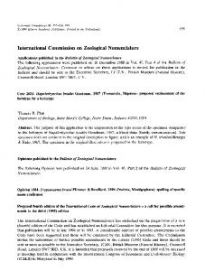 International Commission on Zoological Nomenclature