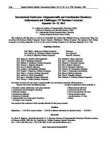 International Conference «Organometallic and coordination chemistry: Achievements and challenges» (VI Razuvaev lectures) September 18—23, 2015