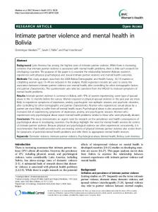 Intimate partner violence and mental health in Bolivia