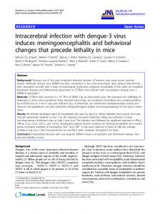 Intracerebral infection with dengue-3 virus induces meningoencephalitis and behavioral changes that precede lethality in mice