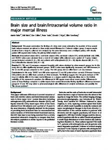 intracranial volume ratio in major mental illness