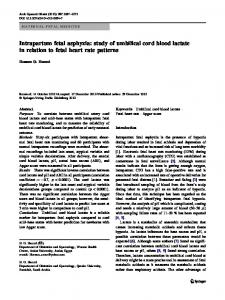 Intrapartum fetal asphyxia: study of umbilical cord blood lactate in relation to fetal heart rate patterns