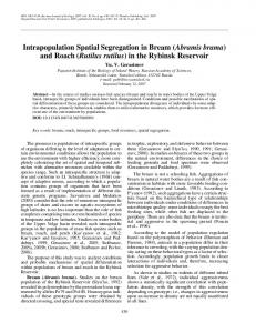 Intrapopulation spatial segregation in bream (Abramis brama) and roach (Rutilus rutilus) in the Rybinsk Reservoir
