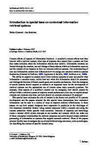 Introduction to special issue on contextual information retrieval systems