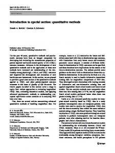 Introduction to special section: quantitative methods