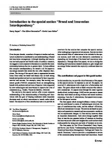 """Introduction to the special section """"Brand and Innovation Interdependency"""""""
