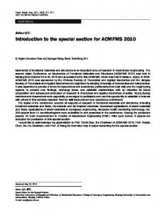 Introduction to the special section for ACMFMS 2010