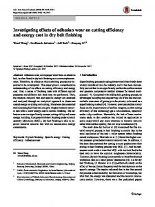 Investigating effects of adhesion wear on cutting efficiency and energy cost in dry belt finishing